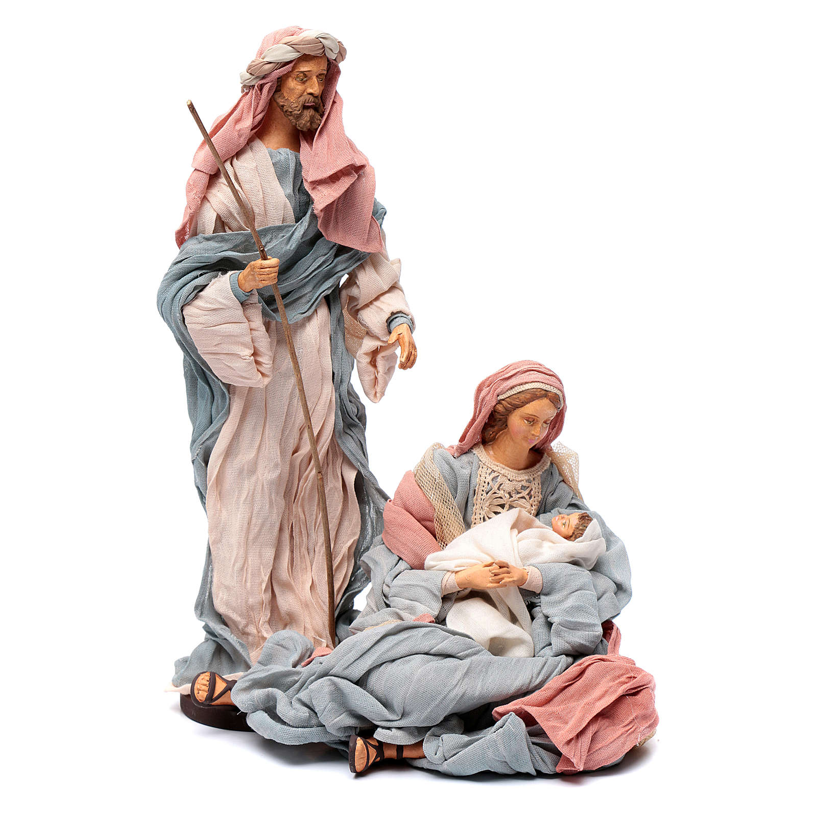 Holy family in resin and indigo fabric 30 cm 3