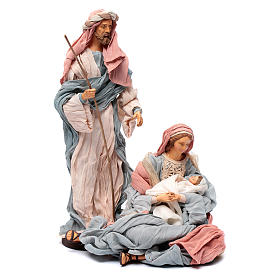 Holy family in resin and indigo fabric 30 cm s1