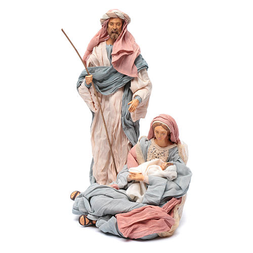 Holy family in resin and indigo fabric 30 cm 2