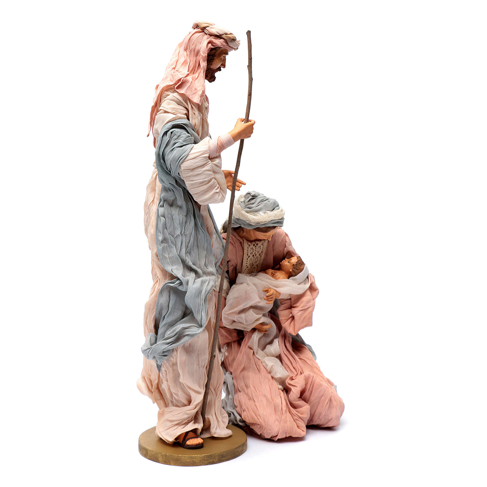 Holy family in resin and pink and light blue gauze 50 cm 3