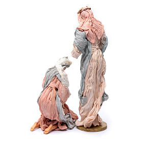 Holy family in resin and pink and light blue gauze 50 cm s4