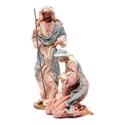 Holy family in resin and pink and light blue gauze 50 cm 2