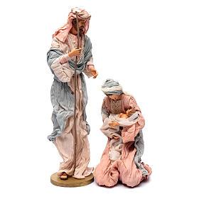 Nacimiento: Natividad 50 cm resina y tela rosa y celeste