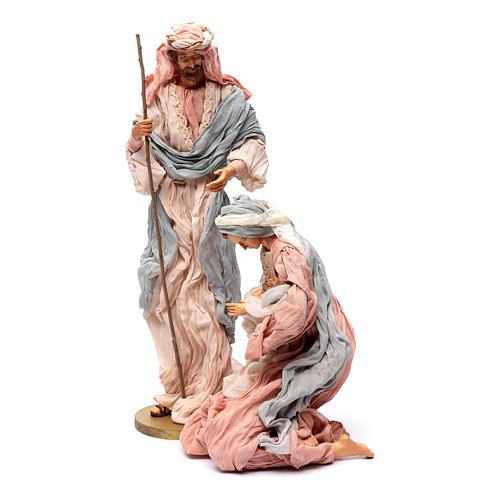 Natividad 50 cm resina y tela rosa y celeste 2