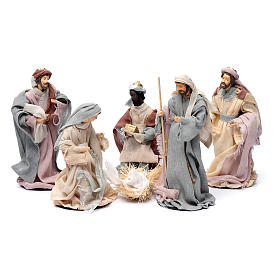 Presepe set 6 pz garza stile country e resina 20 cm s1