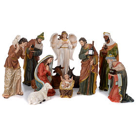 Crèche 60 cm résine peinte 11 personnages s15
