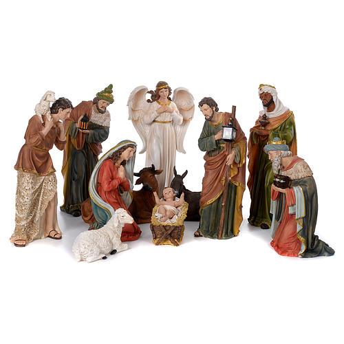 Crèche 60 cm résine peinte 11 personnages 1