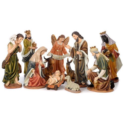 Nativity Scene 61 cm, painted resin, 11 figurines 1