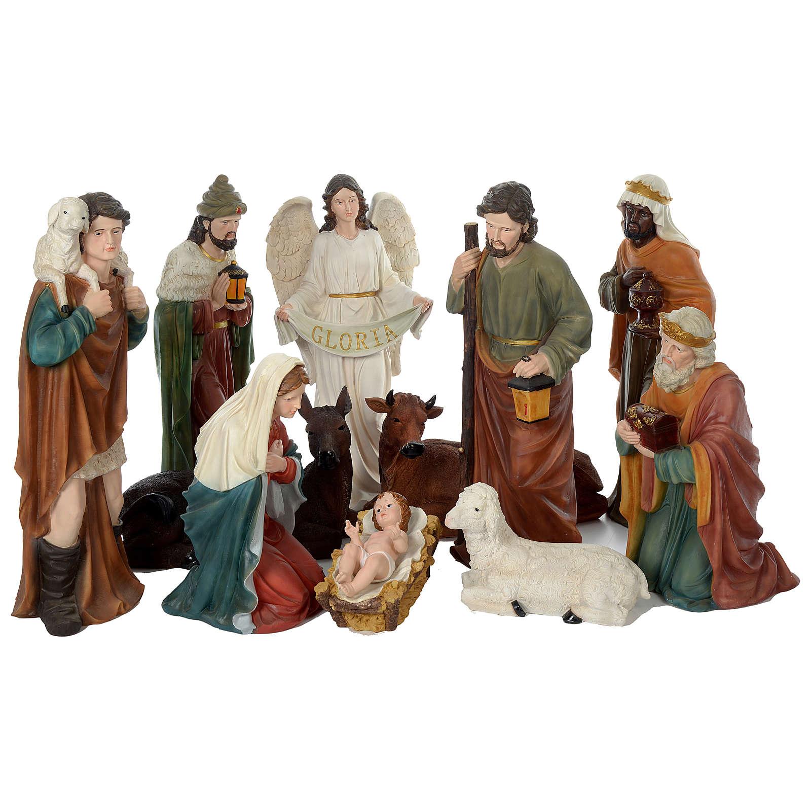 Presépio de Natal 11 Figuras Resina Pintada Altura Média 80 cm 4