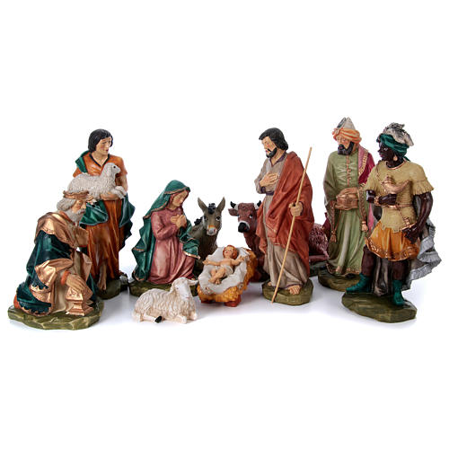 Nativity scene in painted resin, 10 pcs 45 cm 1