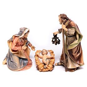 Belén Val Gardena: Sagrada Familia del belén Original madera tres piezas pintada Val Gardena 10 cm de altura media