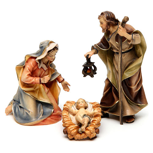 Original Nativity Scene in painted wood from Valgardena three pieces 12 cm 1