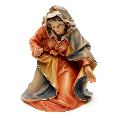 Original Nativity Scene in painted wood from Valgardena three pieces 12 cm 3