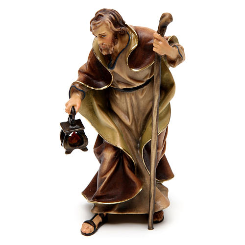 Original Nativity Scene in painted wood from Valgardena three pieces 12 cm 4