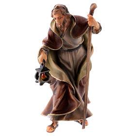 Belén Val Gardena: Estatua San José belén Original madera pintada Val Gardena 10 cm de altura media