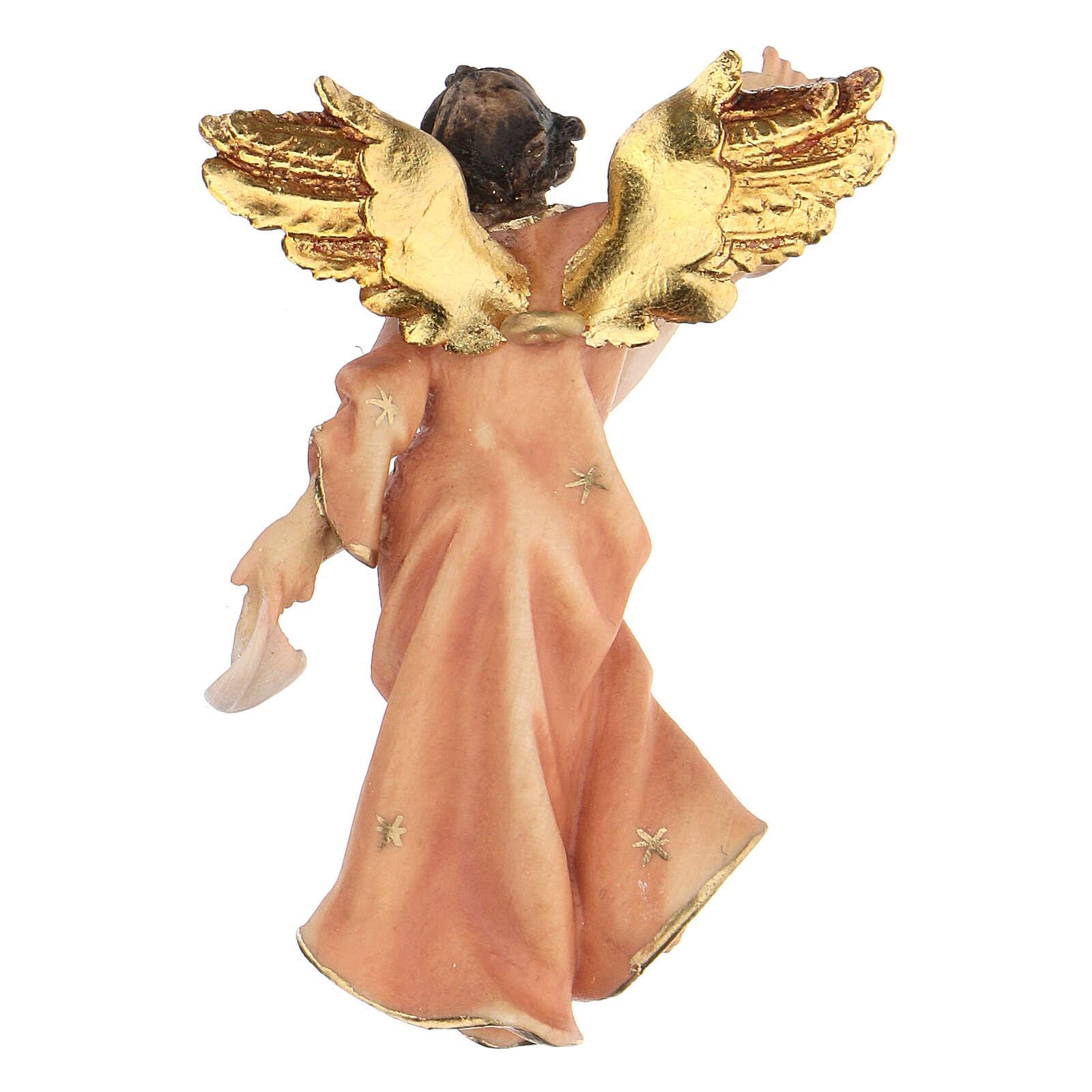 Estatua ángel rojo belén Original madera pintada Val Gardena 10 cm de altura media 4