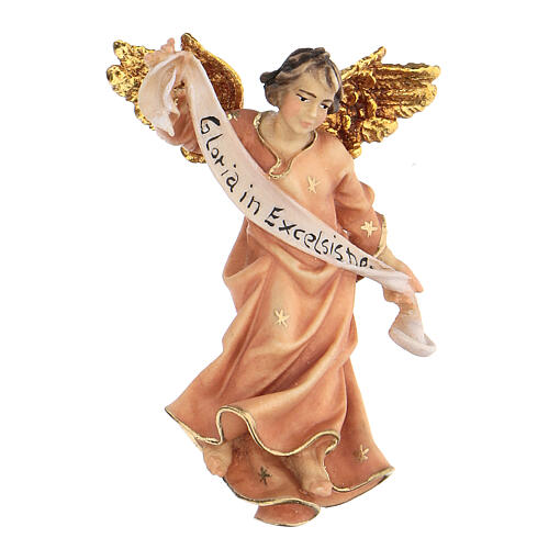 Estatua ángel rojo belén Original madera pintada Val Gardena 10 cm de altura media 1