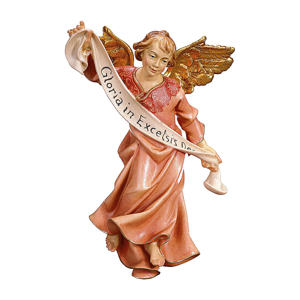 Statuetta angelo rosso presepe Original legno dipinto Valgardena 12 cm 4