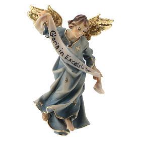 Belén Val Gardena: Estatua ángel azul belén Original madera pintada Val Gardena 10 cm de altura media