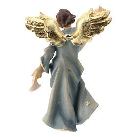 Statuetta angelo blu presepe Original legno dipinto Valgardena 10 cm s2