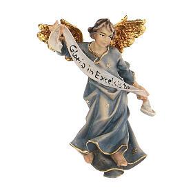 Blue Angel statue, 10 cm Original Nativity model, in painted Valgardena wood s1