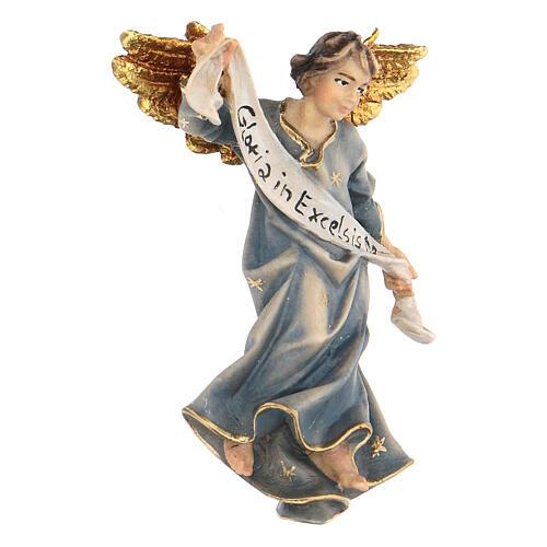 Blue Angel statue, 10 cm Original Nativity model, in painted Valgardena wood 2