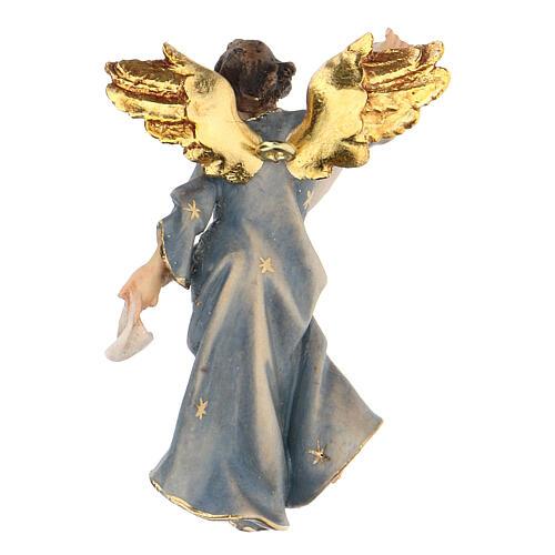 Blue Angel statue, 10 cm Original Nativity model, in painted Valgardena wood 3