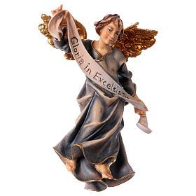 Belén Val Gardena: Estatua ángel azul belén Original madera pintada Val Gardena 12 cm de altura media