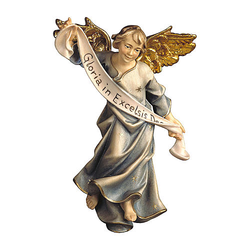 Statuetta angelo blu presepe Original legno dipinto Valgardena 12 cm 1