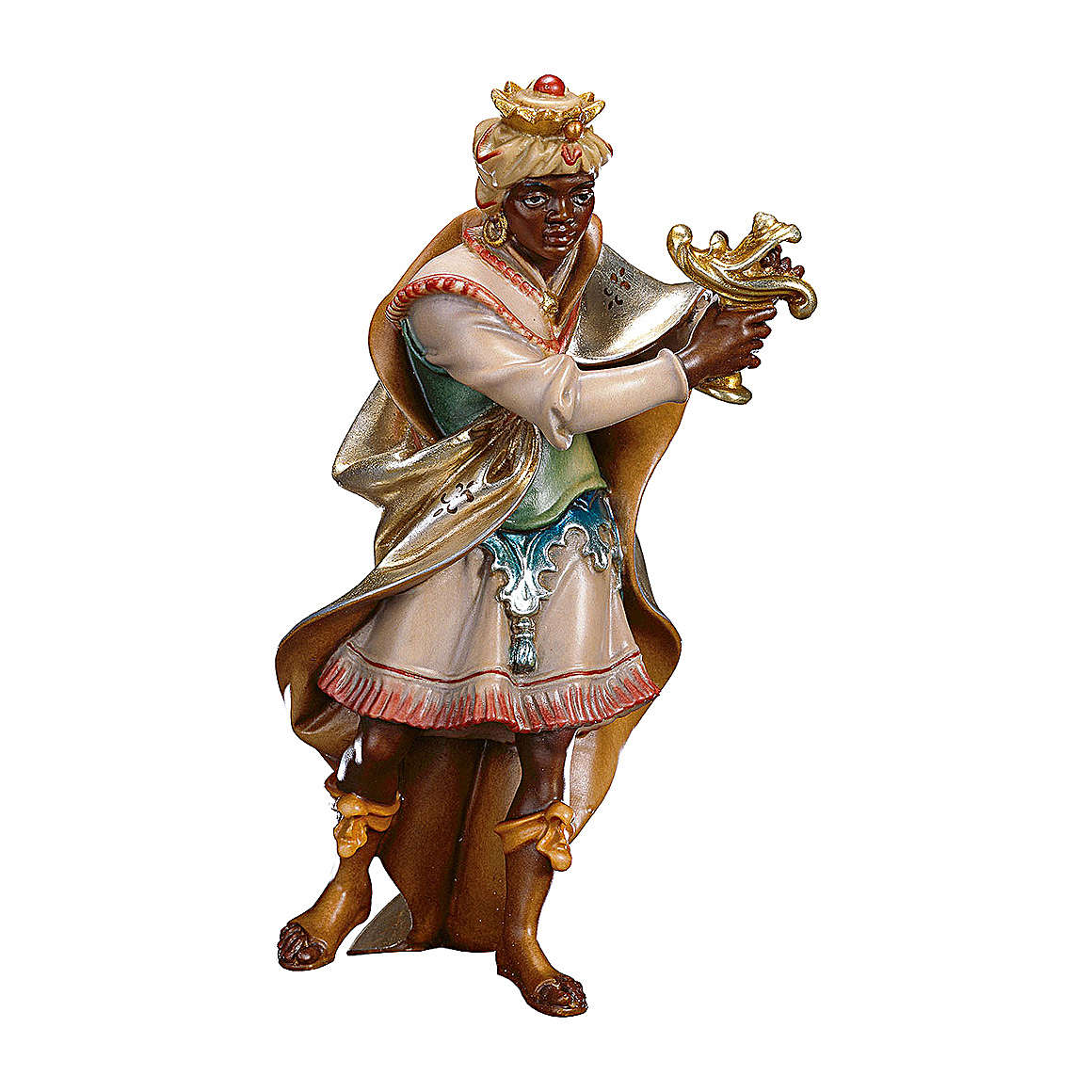 Statuetta Re moro presepe Original legno dipinto Valgardena 10 cm 4