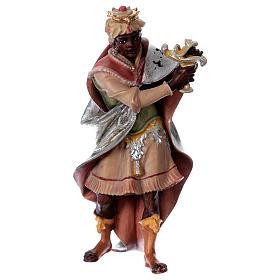 Belén Val Gardena: Estatua Rey moreno belén Original madera pintada Val Gardena 12 cm de altura media