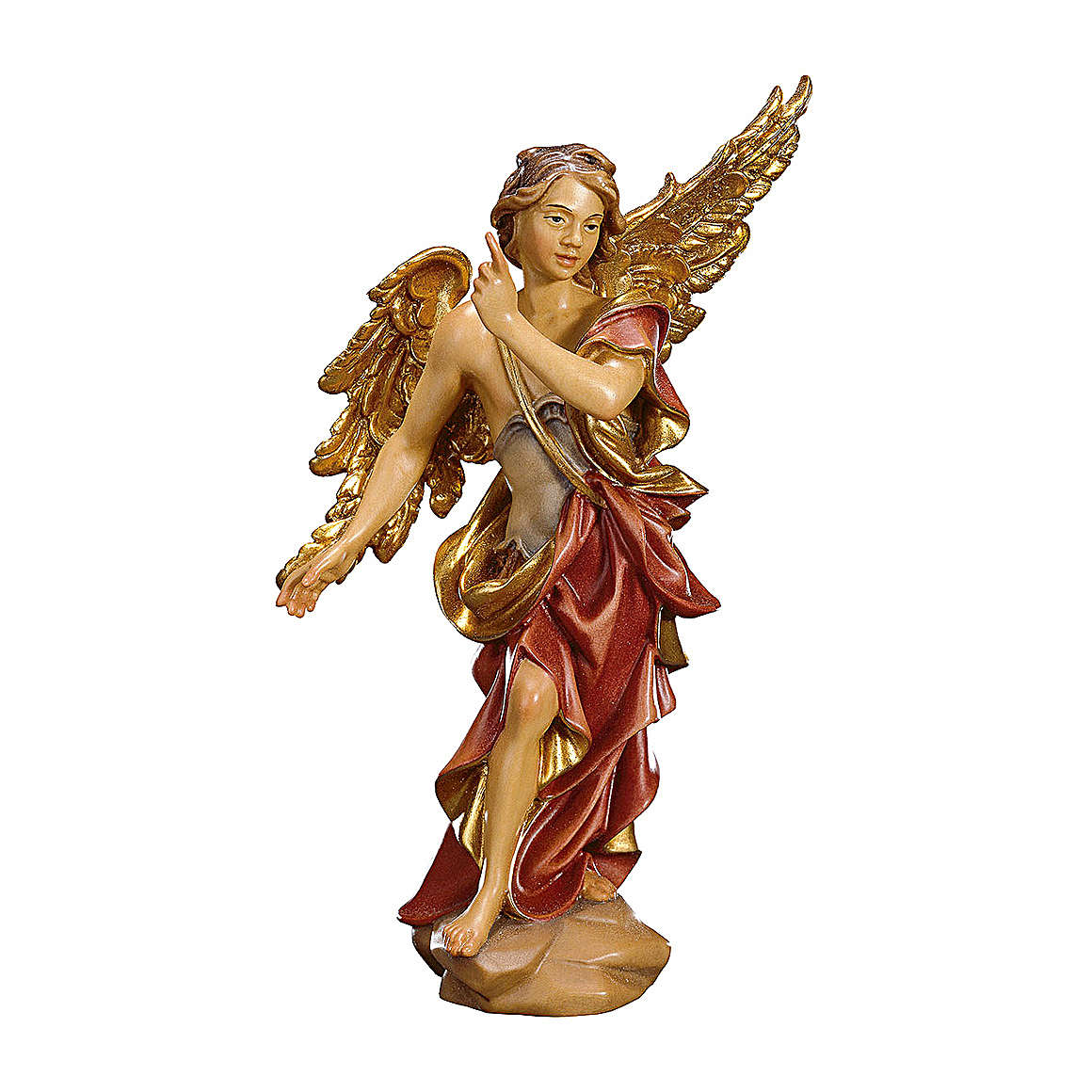 Statuetta Angelo Annunciatore presepe Original legno dipinto Valgardena 10 cm 4