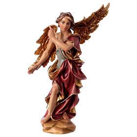 Belén Val Gardena: Estatua Ángel Anunciador belén Original madera pintada Val Gardena 12 cm de altura media