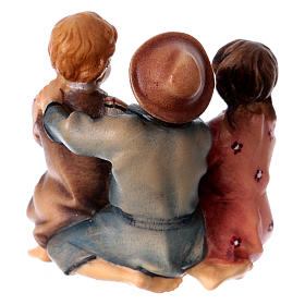 Group of sitting children Original Nativity Scene in painted wood from Valgardena 10 cm s4
