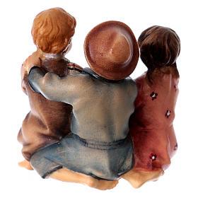 Estatua grupo niños sentados belén Original madera pintada Val Gardena 10 cm de altura media s4