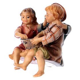 Statuetta gruppo bambini seduti presepe Original legno dipinto Valgardena 10 cm s2