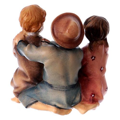 Group of Children Eating, 10 cm Original Nativity model, in painted Valgardena wood 4
