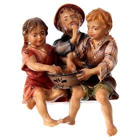 Belén Val Gardena: Estatua grupo niños sentados belén Original madera pintada Val Gardena 12 cm de altura media