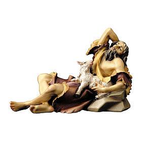 Statuetta pastore sdraiato con agnello presepe Original legno dipinto Valgardena 12 cm s1