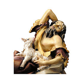 Statuetta pastore sdraiato con agnello presepe Original legno dipinto Valgardena 12 cm s2