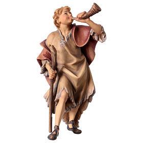 Belén Val Gardena: Estatua pastor con corno belén Original madera pintada Val Gardena 12 cm de altura media