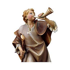 Statuetta pastore con corno presepe Original legno dipinto Valgardena 12 cm s2