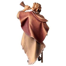 Statuetta pastore con corno presepe Original legno dipinto Valgardena 12 cm s4
