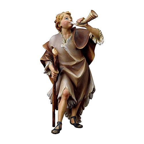 Statuetta pastore con corno presepe Original legno dipinto Valgardena 12 cm 1