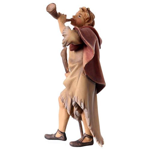 Statuetta pastore con corno presepe Original legno dipinto Valgardena 12 cm 2