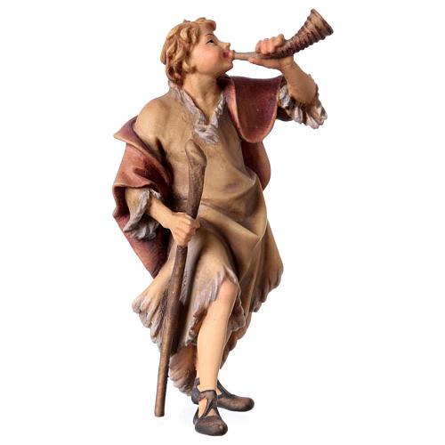 Statuetta pastore con corno presepe Original legno dipinto Valgardena 12 cm 3