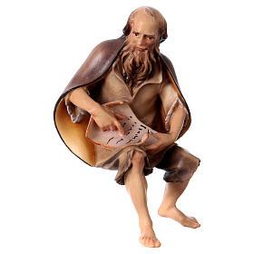 Belén Val Gardena: Estatua viejo pastor narrador belén Original madera pintada Val Gardena 12 cm
