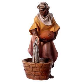 Belén Val Gardena: Estatua camellero jarra belén Original madera pintada Val Gardena 12 cm de altura media