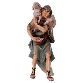 Belén Val Gardena: Pastor y oveja sobre los hombros belén Original madera pintada Val Gardena 12 cm de altura media