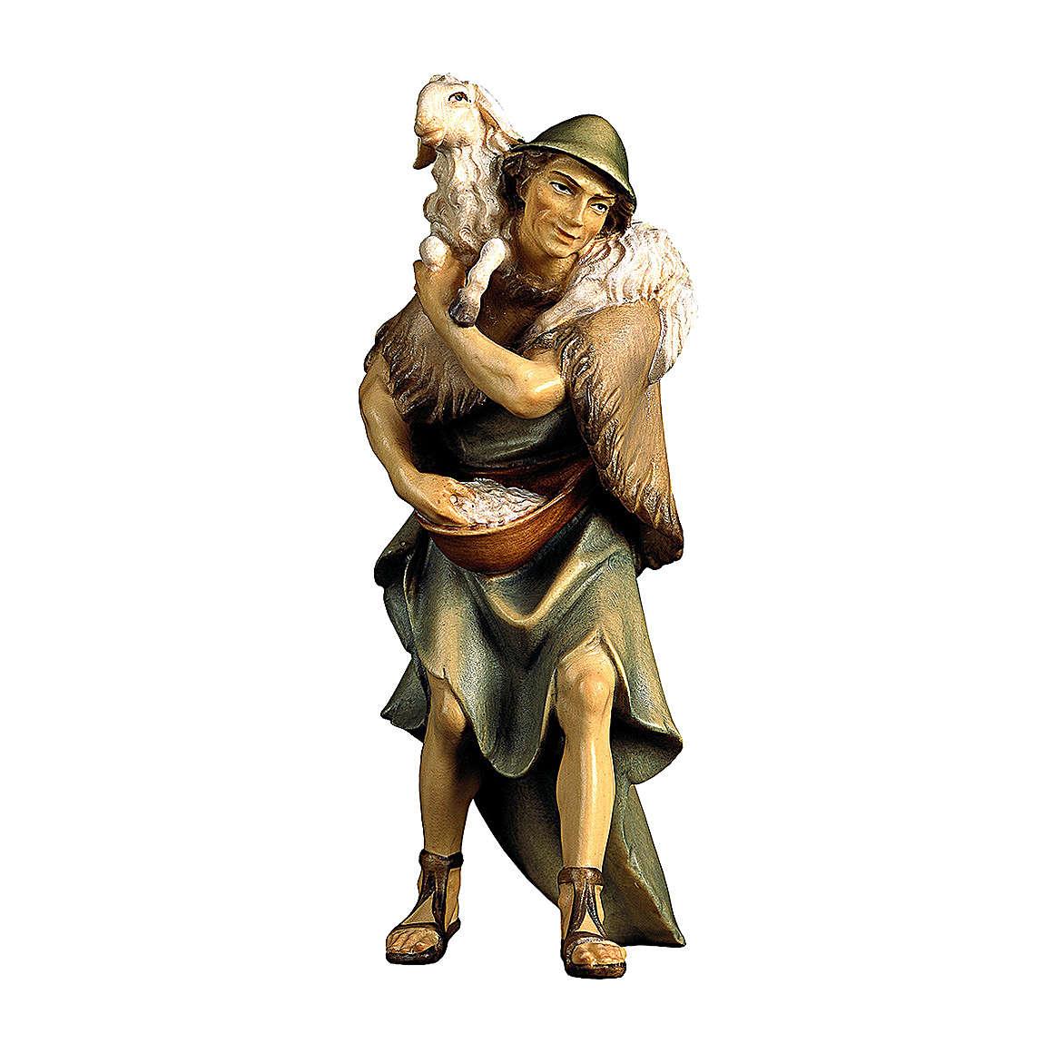 Pastore e pecora sulle spalle presepe Original legno dipinto Valgardena 12 cm 4